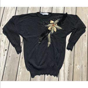 Vintage Lambswool Angora Sweater Fur Floral Med